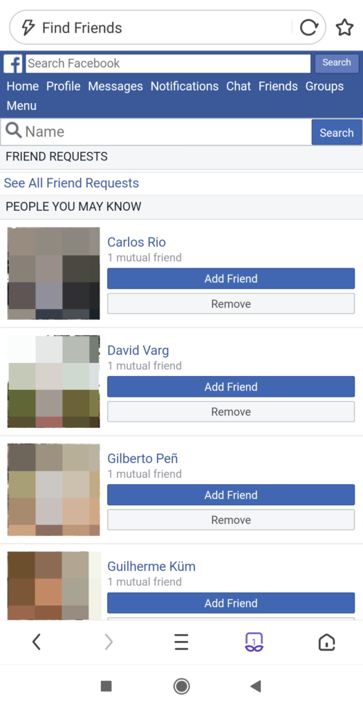see sent friend requests in the Facebook app