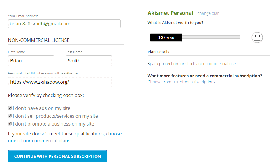 akismet anti spam settings