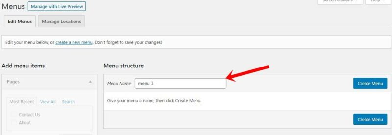 how to create menu for header in wordpress