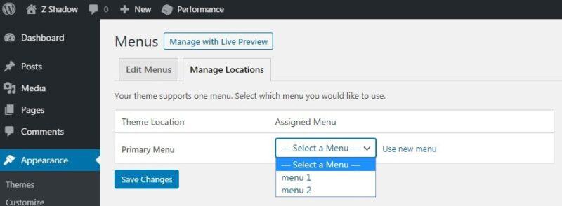 how to display menu on my wordpress websitejpg