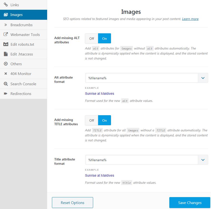 image settings for rank math