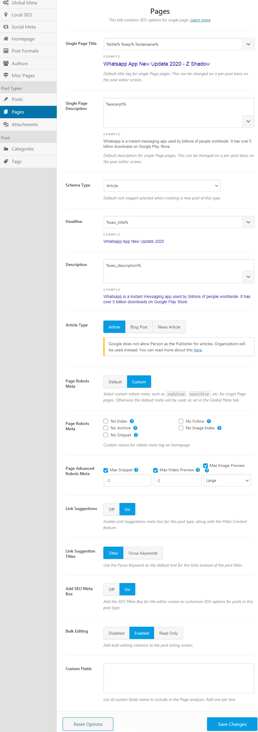 rank math settings for pages