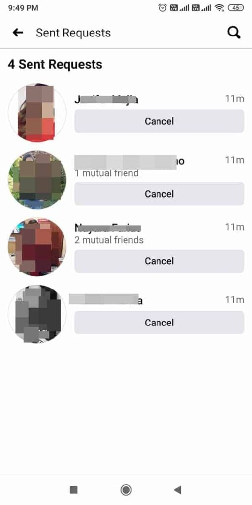 how to cancel and see sent friend requests on facebook